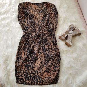 TOPSHOP Plunged Neck Printed Mini Dress sz 4